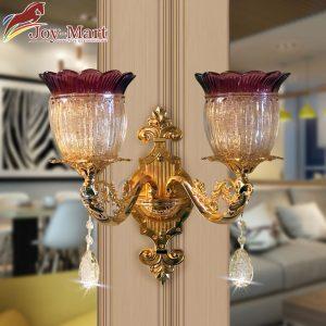 đèn tường mạ vàng chao đá hoa văn